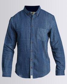 PEG Artisan Long Sleeve Shirt Denim Blue