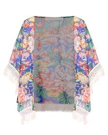 Peg Kimono Signature Series Tropical Floral Blue