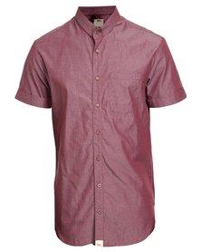 Peg Extender Short Sleeve Shirt Chambray Maroon