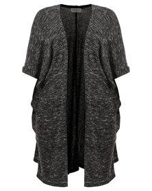 Pengelly Knit Side Button Cardigan Charcoal Melange