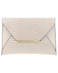 Pierre Cardin Snake Envelope Clutch Nude