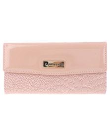 Pierre Cardin Lea Contrast Croc Patent Wallet Dusty Pink