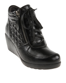 Pierre Cardin Short Wedge Boot With Laces Black