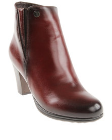 Pierre Cardin Short Heeled Boot Red