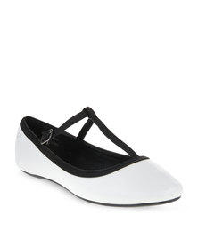 Pierre Cardin T Bar Pumps White