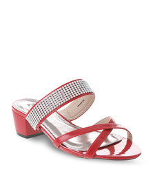 Pierre Cardin Diamante Strappy Heels Red