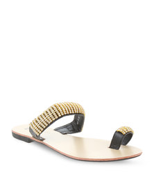 Pierre Cardin Diamante Sandals Black