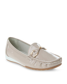 Pierre Cardin Patent Slip-On Shoes Taupe