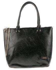 Pierre Cardin Sadie Reversible Zip Chain Tote Bag Black and Brown