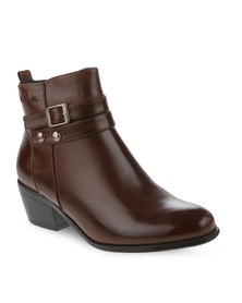 Pierre Cardin Double Strap Ankle Boot Brown