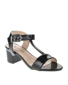 Pierre Cardin Patent Mid Heels Black