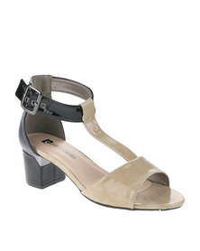 Pierre Cardin Two-Tone Mid Heels Black/Taupe