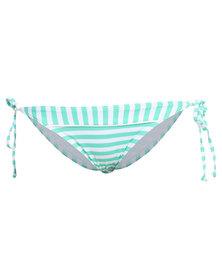 Piha Funky Stripe String Bikini Bottom Blue