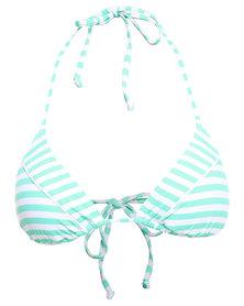 Piha Funky Stripe Triangle Bikini Top Blue