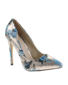 Plum Distinct High Heels Blue