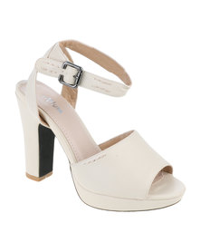 PLUM Gianna Chunky Block Heel With Ankle Strap Nude