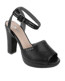 PLUM Gianna Chunky Block Heel With Ankle Strap Black