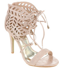 PLUM Erin High Heel Lace Up Shoe with Cut Out Detail Pink