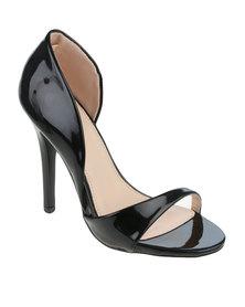 PLUM Jada High Heel Open Toe Shoe Black