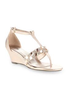 Plum Fuss Heeled Sandals Gold