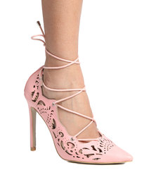 PLUM Paige Lace Up High Heel with Cut Out Detail Pink