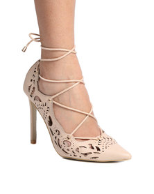 PLUM Paige Lace Up High Heel with Cut Out Detail Nude