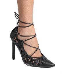 PLUM Paige Lace Up High Heel with Cut Out Detail Black