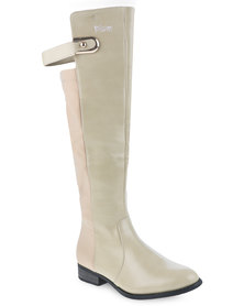 Plum Cleo Boots Nude