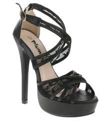 PLUM Aeryn Peep-Toe Heels Black