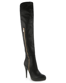 Plum Stretch Over-the-Knee Boots Black