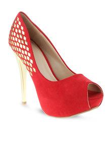 Plum Kat Heels Red