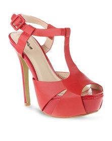 Plum Trida Platform Heels Red