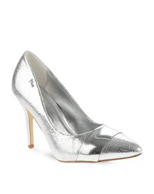 Plum Crackle Mid Heels Silver
