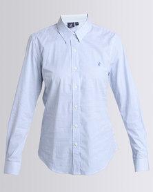 Polo Ladies Bianca LS Striped Stretch Shirt Blue