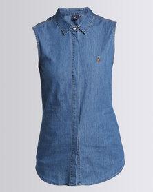 Polo Ladies Emmie SL Tri-Colour Pony Denim Shirt Medium Wash