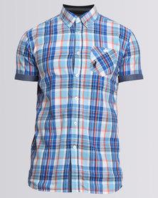 Polo Check Short SS Shirt Blue