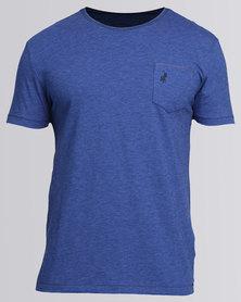 Polo Mens Pocket Slub Tee Blue