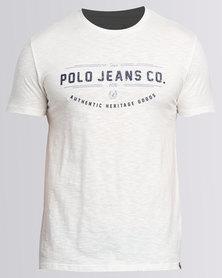 Polo Mens Printed Slub Tee White