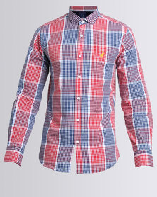 Polo Mens Custom Fit Signature LS Shirt Red