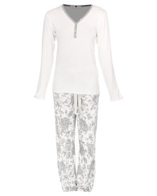 Poppy Devine Rose Print PJ Set Ivory/Grey Melange