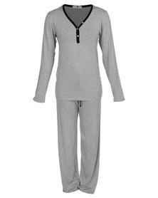 Poppy Devine PJ Set Grey Melange
