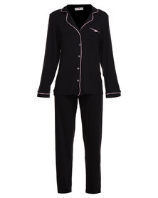 Poppy Divine Classic PJ Set Plain Black with Blush Piping
