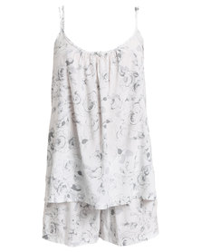 Poppy Divine Rayon Ivory Rose Print Strappy Sleepwear Set