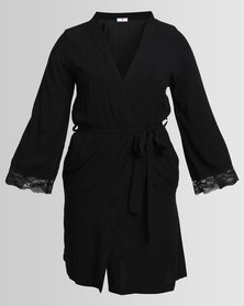 Poppy Divine Rayon Gown With Lace Trim Black