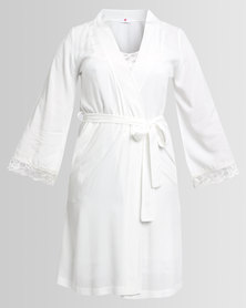 Poppy Divine Rayon Gown With Lace Trim Ivory