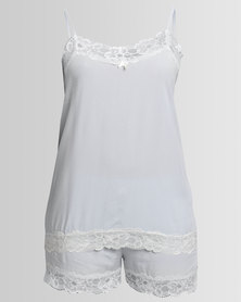 Poppy Divine Rayon Sleepwear Set With Lace Detail Silver