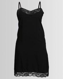 Poppy Divine Rayon Chemise With Lace Trim Black