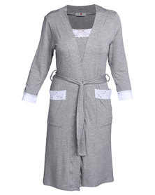 Poppy Divine Viscose Gown with Lace Trim Grey