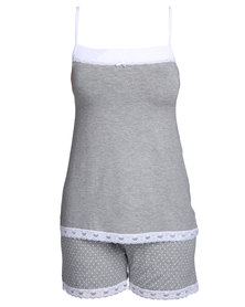 Poppy Divine Viscose Lace Strappy Top with Shorts Grey