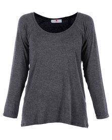 Poppy Divine Let's Lounge Sleeve Top Charcoal